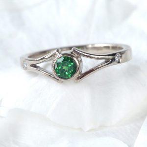 Bespoke Tsavorite and Diamond Split-shank Ring