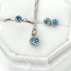 Petite Milgrain Jewellery Set - Sapphire