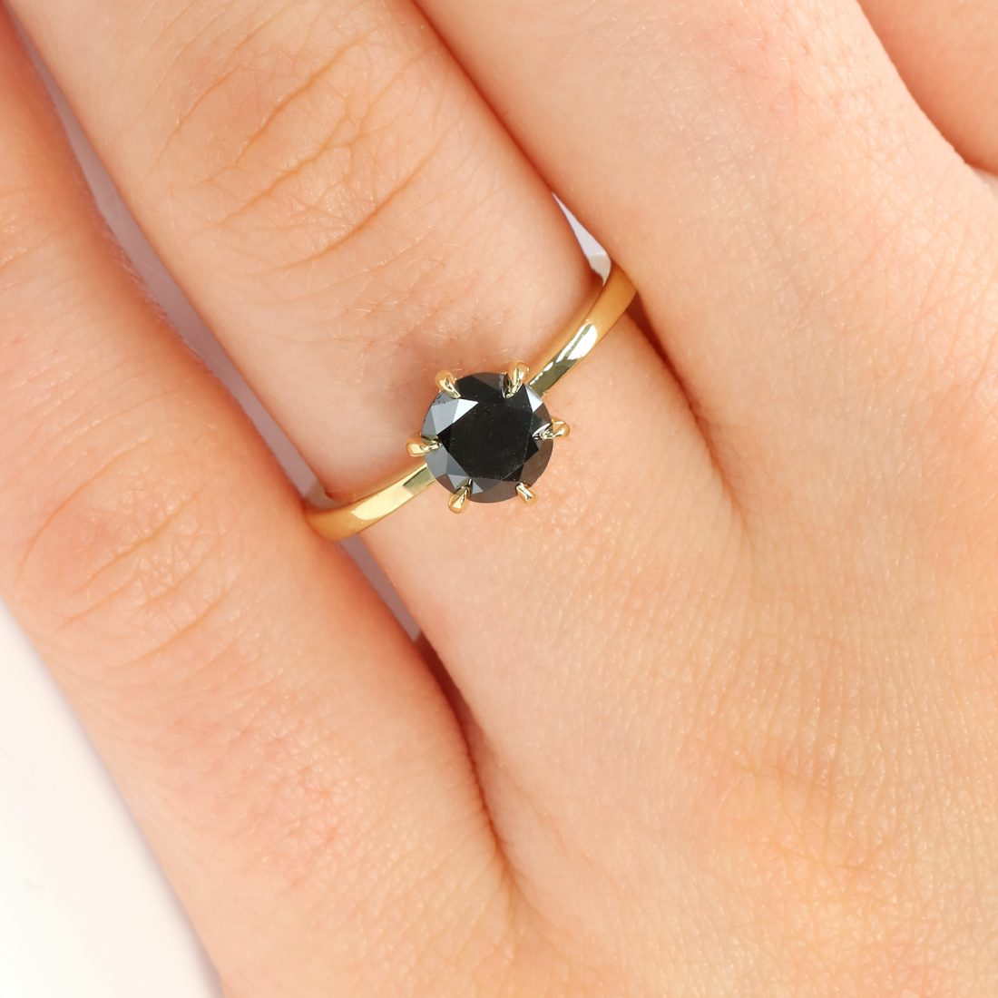 18ct Gold Black Rose Cut Diamond