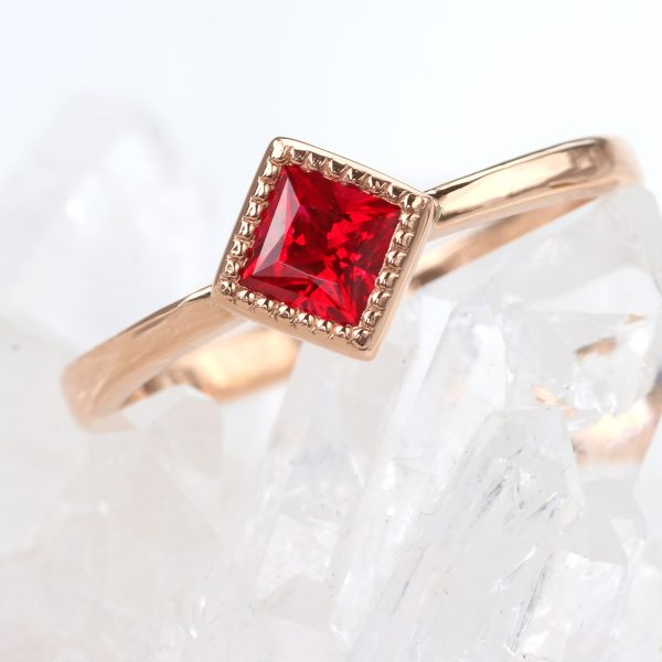 princess cut ruby ring