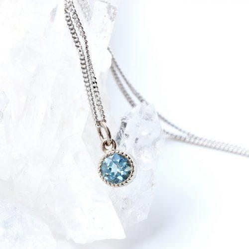 minimalist aquamarine pendant in white gold, perfect March birthstone gift