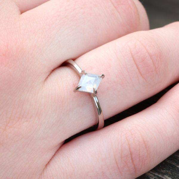 Kite shape diamond engagement ring in 18ct white gold
