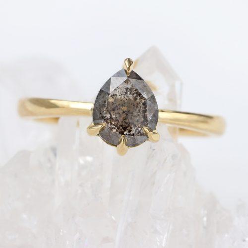 salt pepper diamond engagement ring