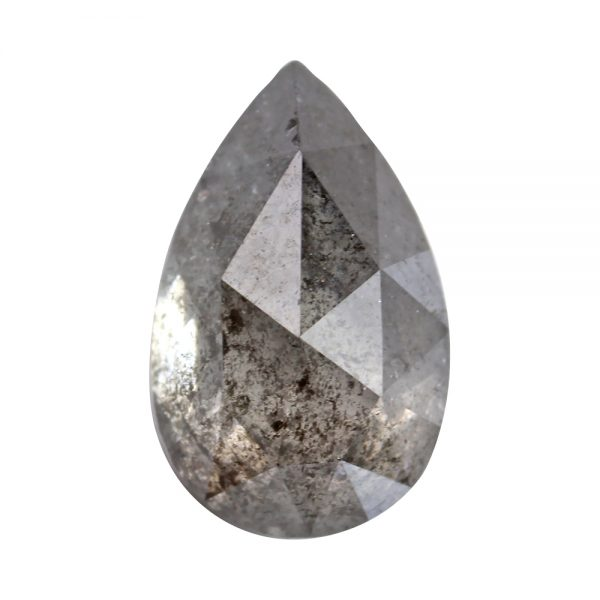 salt and pepper pear shape diamond