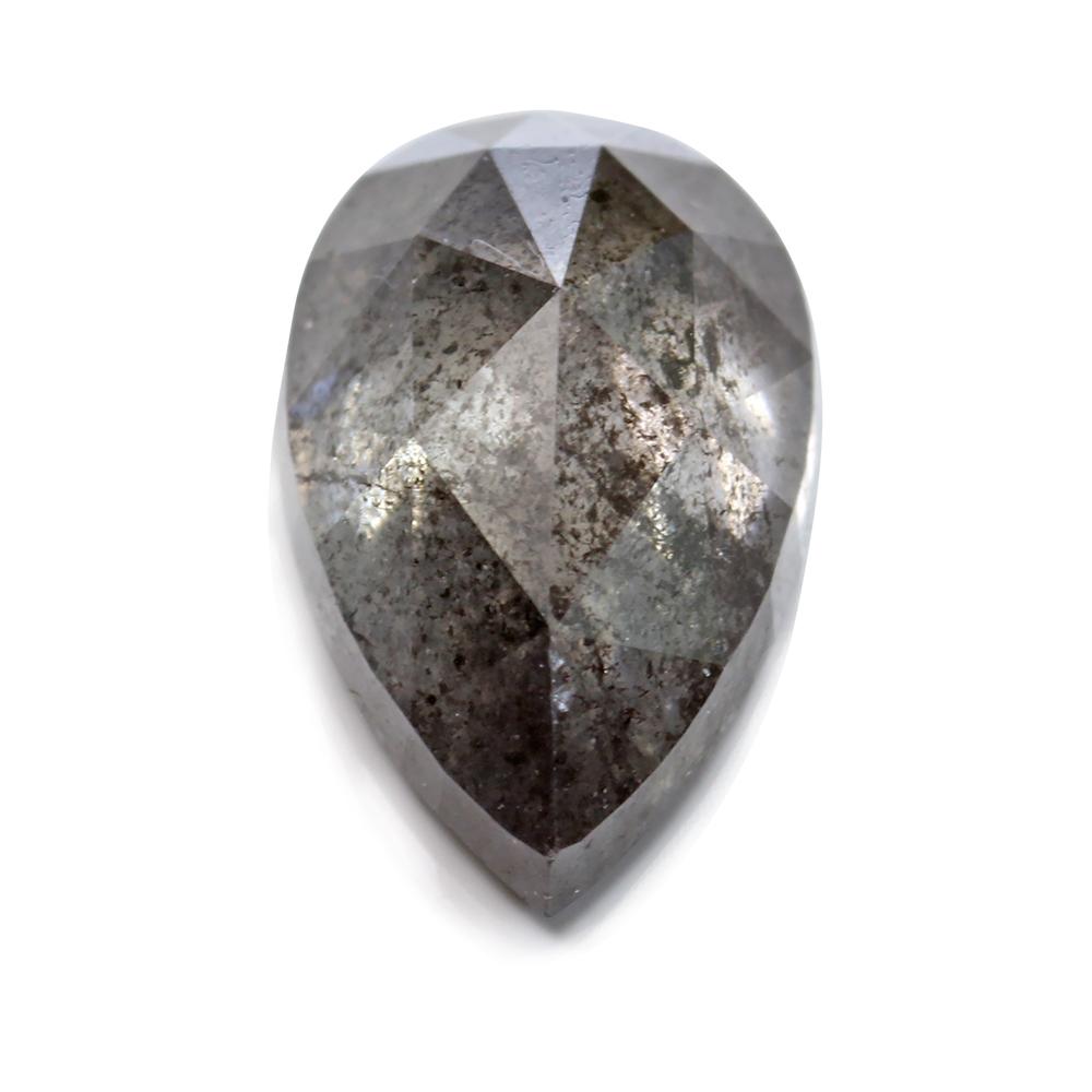 salt and pepper pear shape diamond