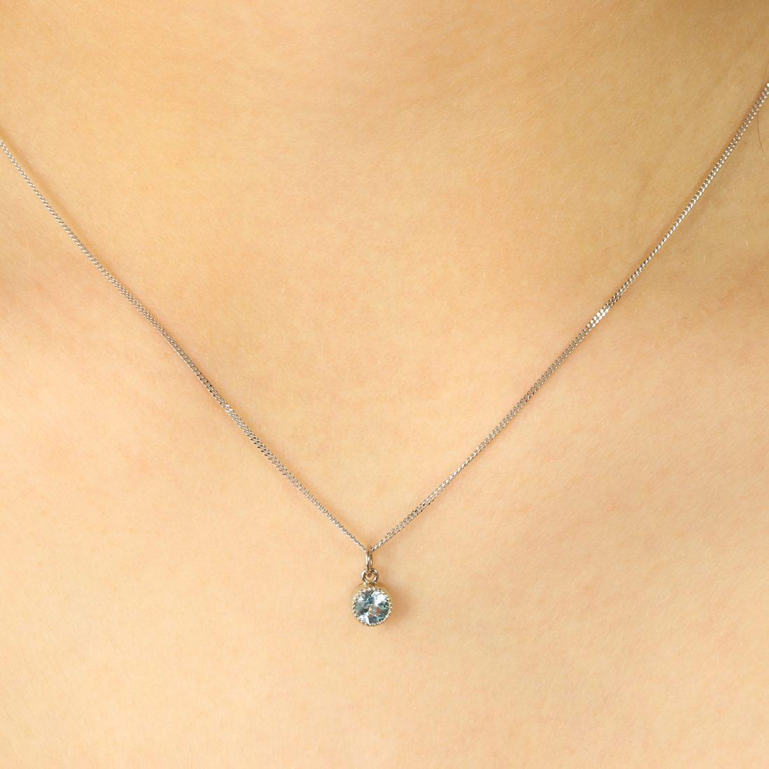 18ct White Gold Petite Milgrain Aquamarine Pendant - March Birthday Gift