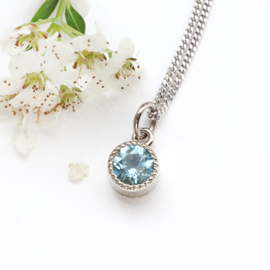 18ct White Gold Petite Milgrain Aquamarine Birthstone Necklace (March Gifts)