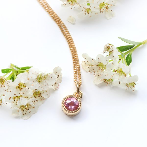 18ct Gold Pink Tourmaline Milgrain Engraved Pendant & Chain
