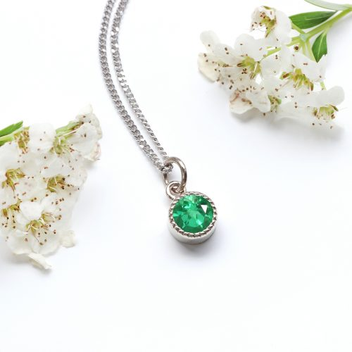Ethical emerald birthstone jewellery by Lilia Nash - Celebrate a May birthday with the 18ct white gold Petite Milgrain emerald pendant & chain.