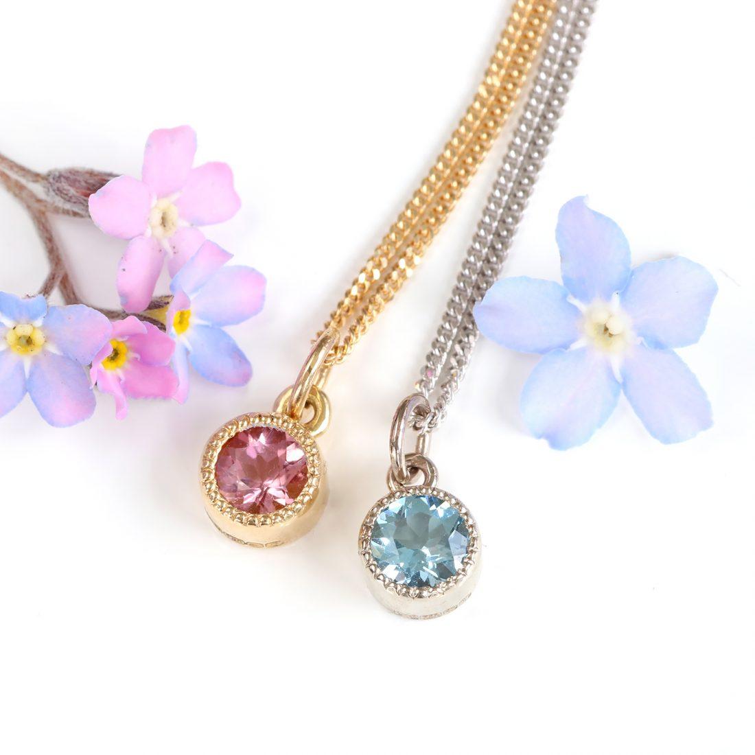 Lilia Nash Petite Millgrain Engraved Jewellery - Pendants