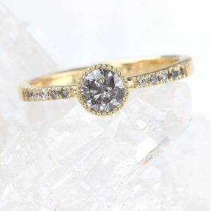 pave salt and pepper diamond engagement ring