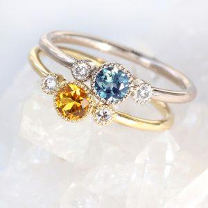 teal sapphire diamond ring
