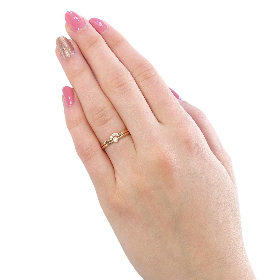 18ct Rose Gold Diamond Stacking Ring Set Minimalist Ring Sets