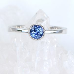 Ceylon Royal blue sapphire engagement ring in platinum, size L. Can be resized.