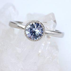 purple sapphire engagement ring in 950 platinum