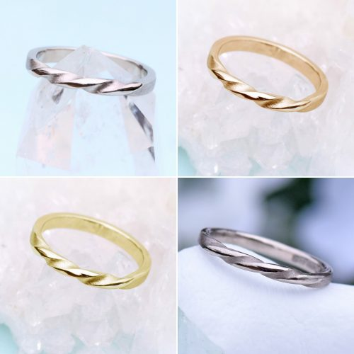Triple Twist wedding rings represent the 3 relationship landmarks of falling in love, getting engaged and marriage. Available in 3 golds or platinum.