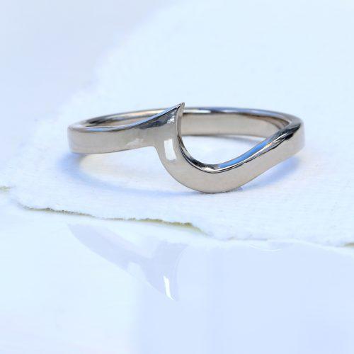 Custom platinum wedding band, to fit wave design engagement rings
