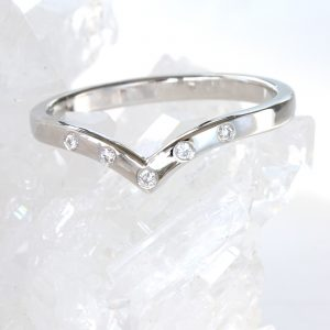 Ethical diamond wedding rings by Lilia Nash - Platinum 5-diamond wishbone wedding ring. Also available in 18ct rose, white and yellow gold.