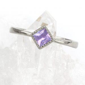 custom princess cut lilac purple sapphire ring in platinum